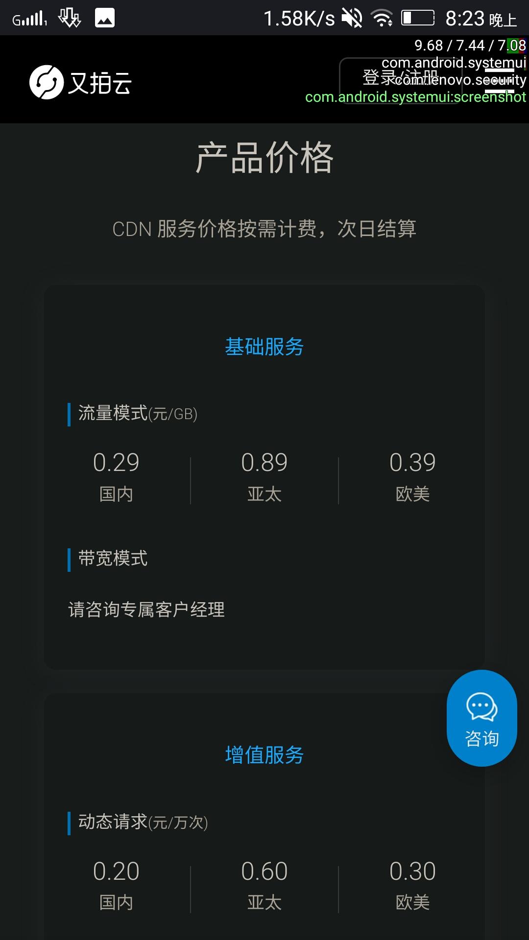 又拍云CDN价格-国内0.3元每gb-亚太0.9元每gb-欧美0.4元每gb